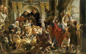 arte y fe Jesus expulsando a los mercaderes
